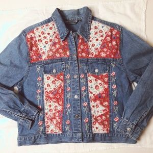 Jackets & Blazers - Floral Embroidered Pink White Blue Denim Jacket